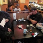 R, J & B at sushi dinner