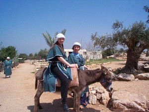 Steph on a donkey in Israel